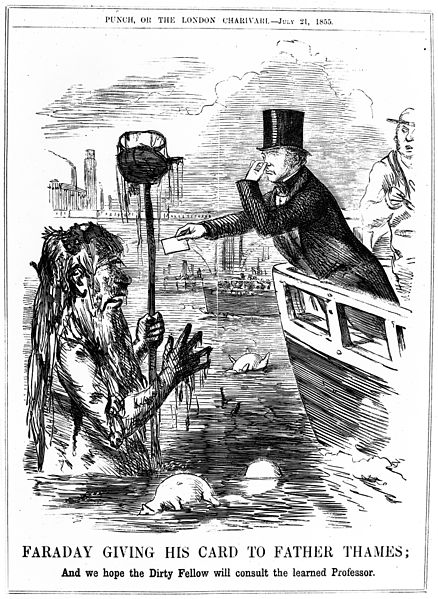 Caricature;_Faraday_giving_his_card_to_Father_Thames._Wellcome_M0012507